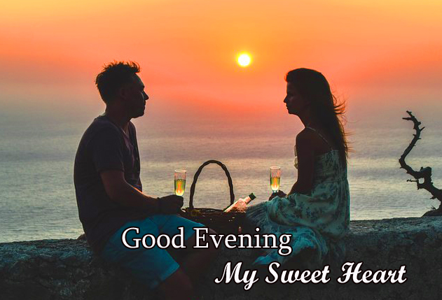 Beautiful Couple in Sunset with Good Evening My Sweetheart Wish