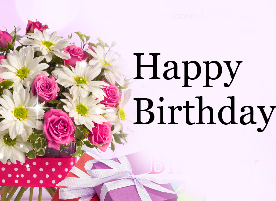 Bouquet of Flowers with Happy Birthday Wish