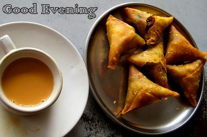 Chai and Samosa Picture with Good Evening Wish