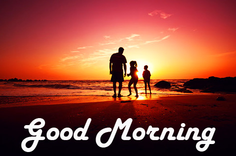 Cheerful Small Family on Beach with Good Morning Wish