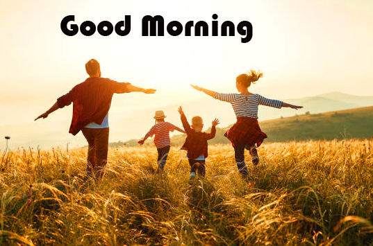 Cheerful and Happy Family Good Morning Image