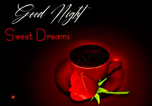 Coffee and Rose with Good Night Wish and Greeting