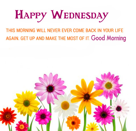 Colorful Blessing Message with Good Morning Happy Wednesday Wish