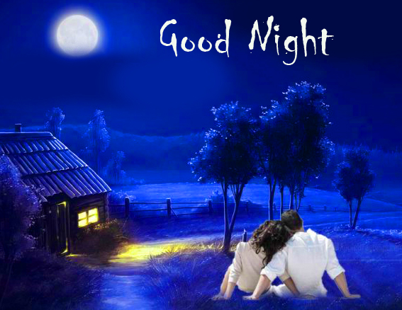 Couple in Night Scenery with Good Night Greeting