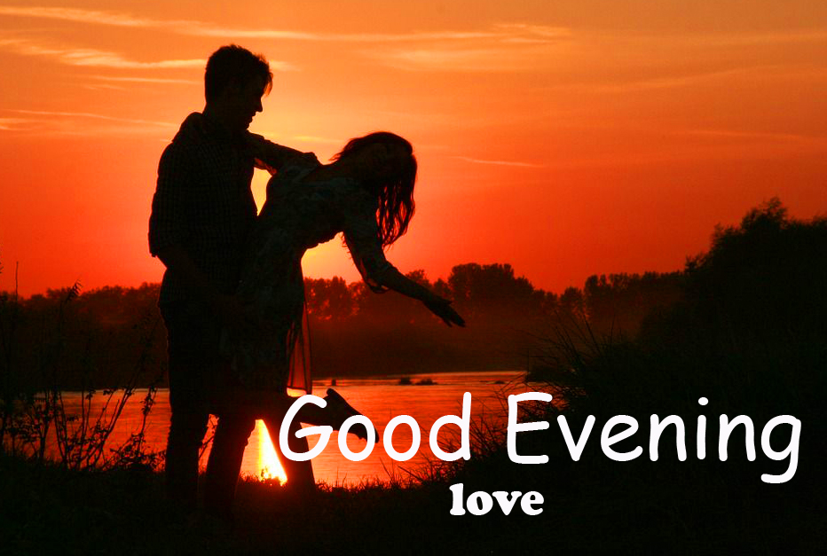 Couple in Sunset with Good Evening Love Wish