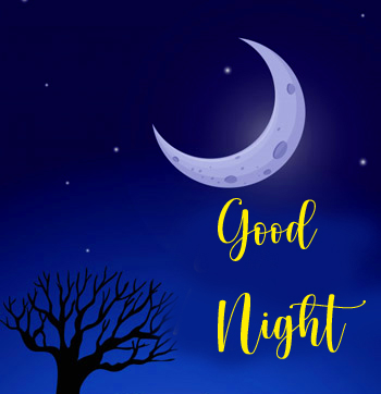 Crescent Moon with Good Night Greeting