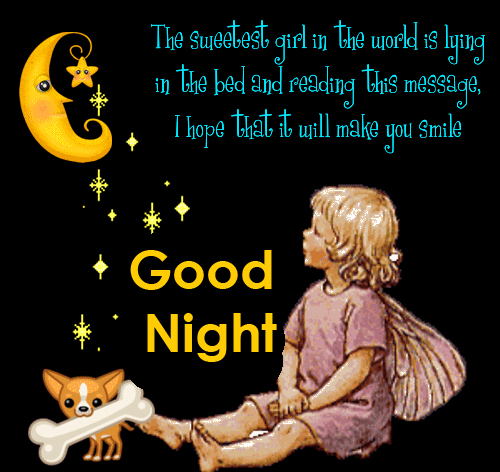 Cute Angel Good Night Greeting Picture