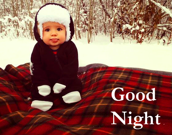 Cute Baby in Winter with Good Night Wish