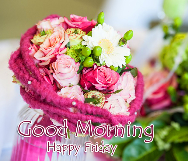 Cute Flowers Bouquet Good Morning Happy Friday Image
