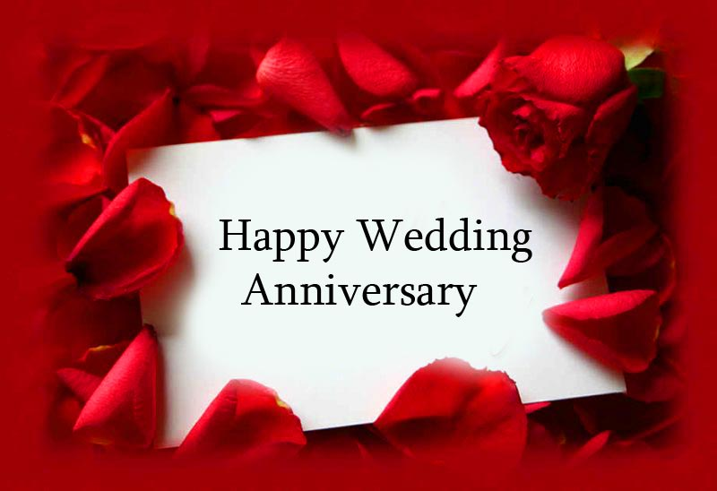 Cute Happy Wedding Anniversary Card with Roses
