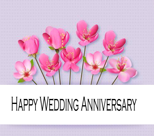 Cute Pink Flowers with Happy Wedding Anniversary Wish