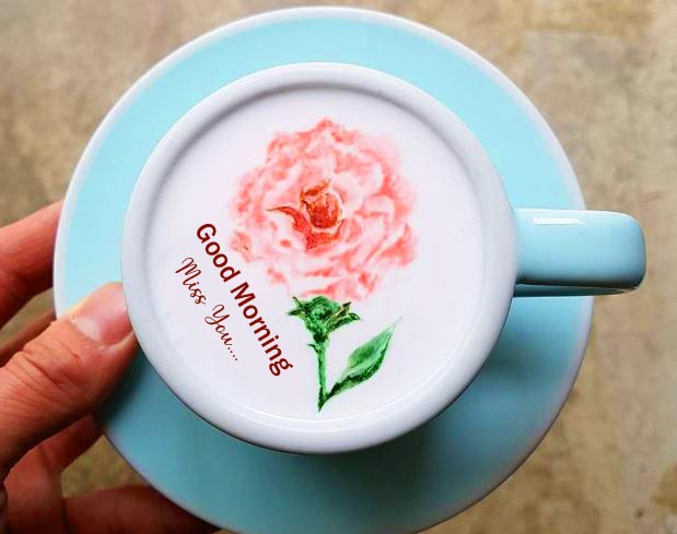 Flower on Coffee with Good Morning Miss You