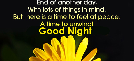 Flower with Good Night Greetings Message