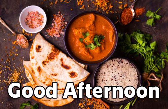 Good Afternoon Sunday Wish with Curry Lunch