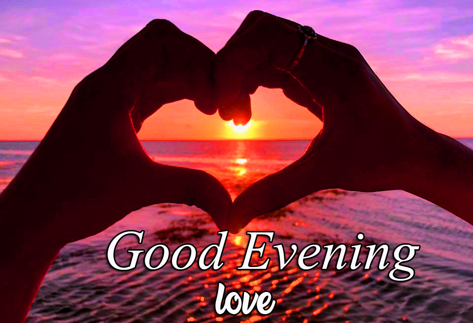 Good Evening Love with Heart in Sunset