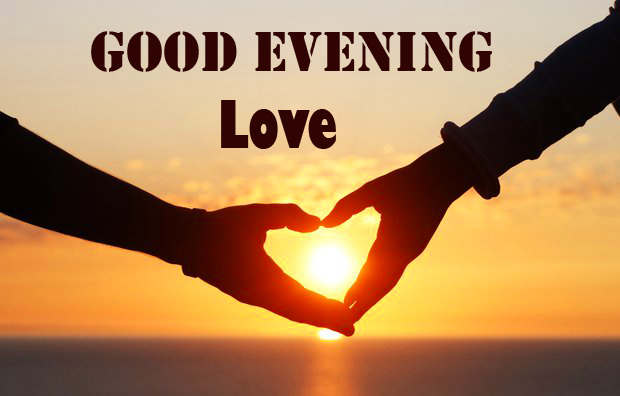 Good Evening Love with Heart in Sunset Photo