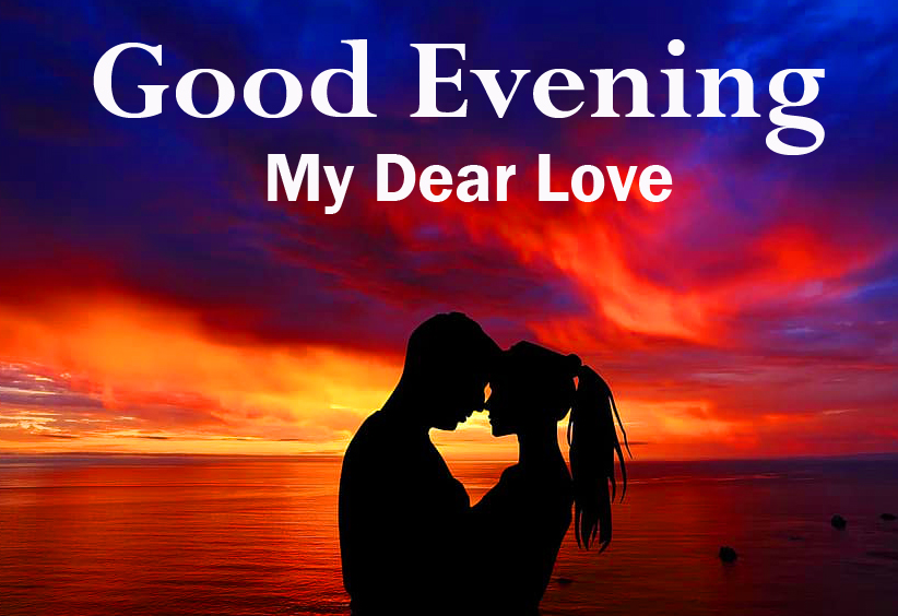 Good Evening Love with Love Couple in Sunset Pic