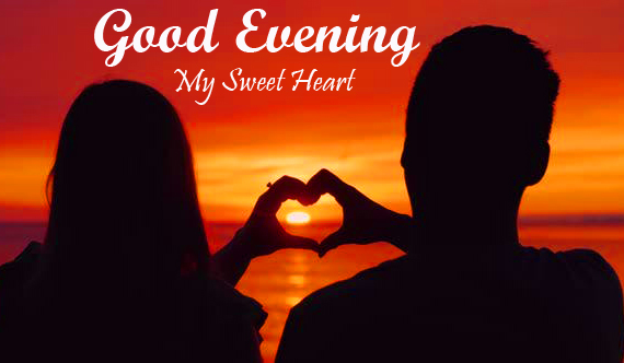 Good Evening My Sweetheart with Couple Heart in Sunset Pic