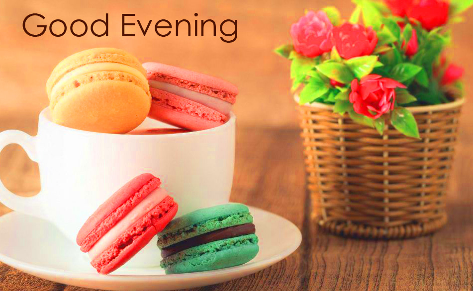 Good Evening Pic with Coffee Cup and Macarons
