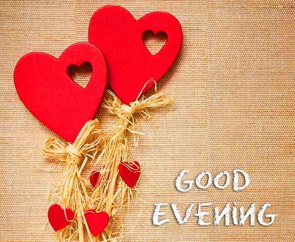 Good Evening with Cute Love Hearts