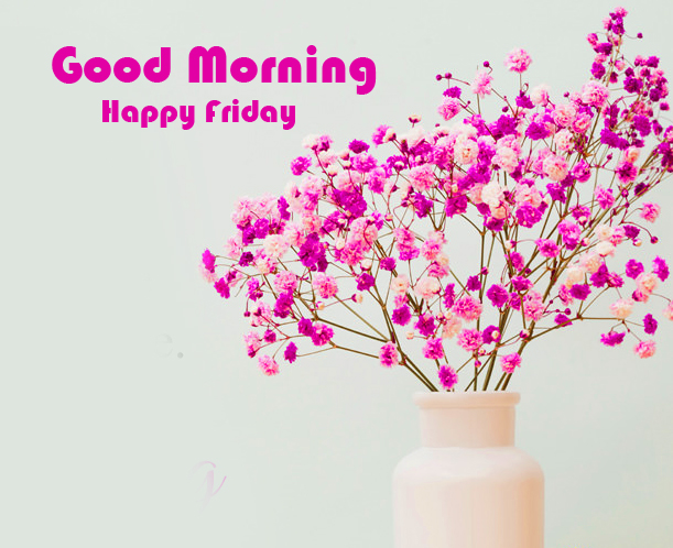 Good Morning Happy Friday Pink Flowers Image