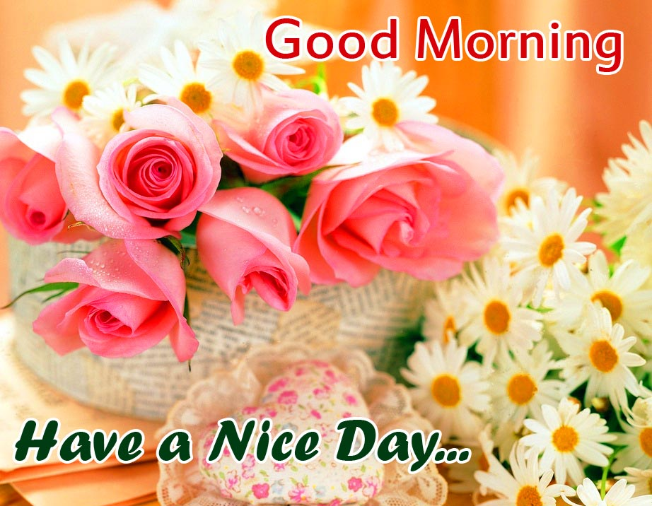 Good Morning Have a Nice Day Roses Basket Wallpaper