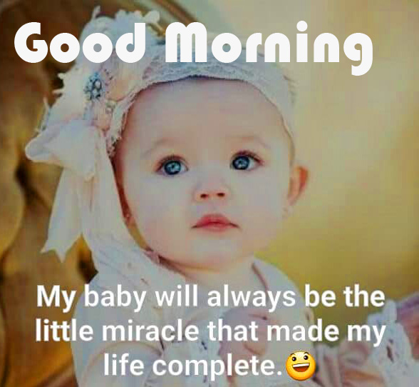 Good Morning Wish with Baby Quotes