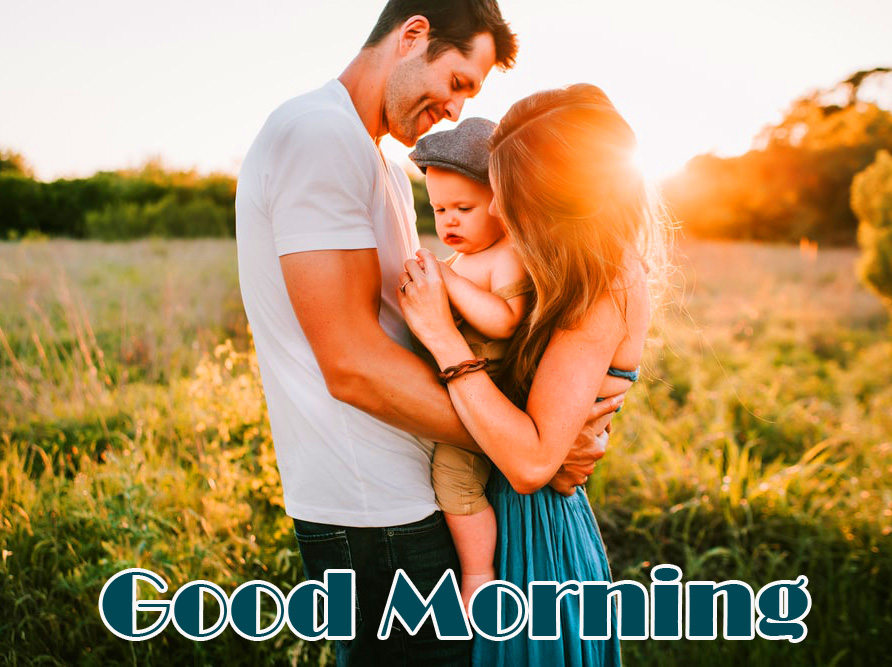 Good Morning Wish with Sweet Family Pic