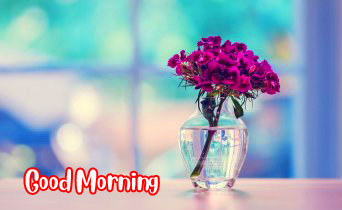 Good Morning with Lovely Flowers Vase Pic