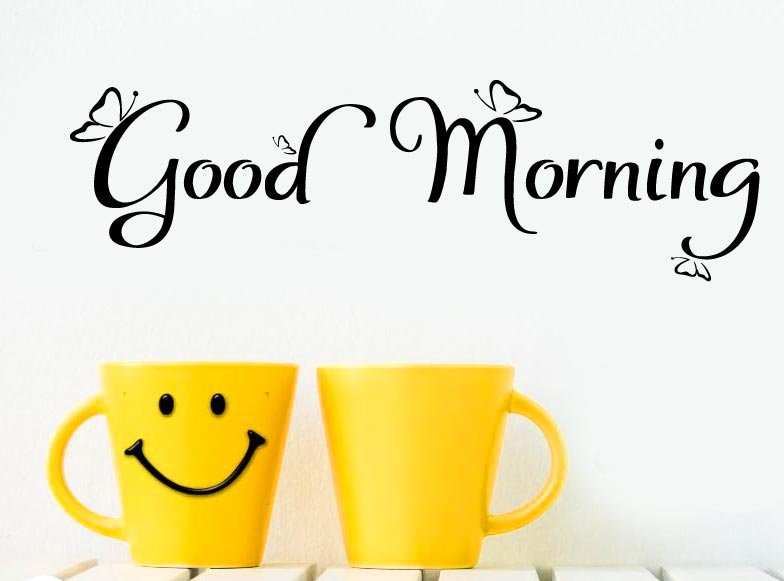 Good Morning with Smiley Coffee Cups