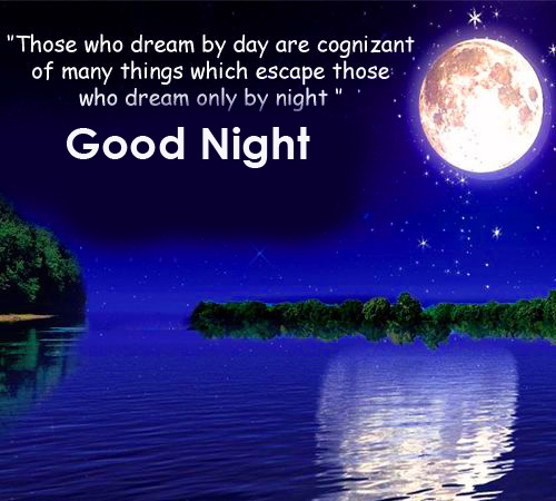 Good Night Greeting with Full Moon