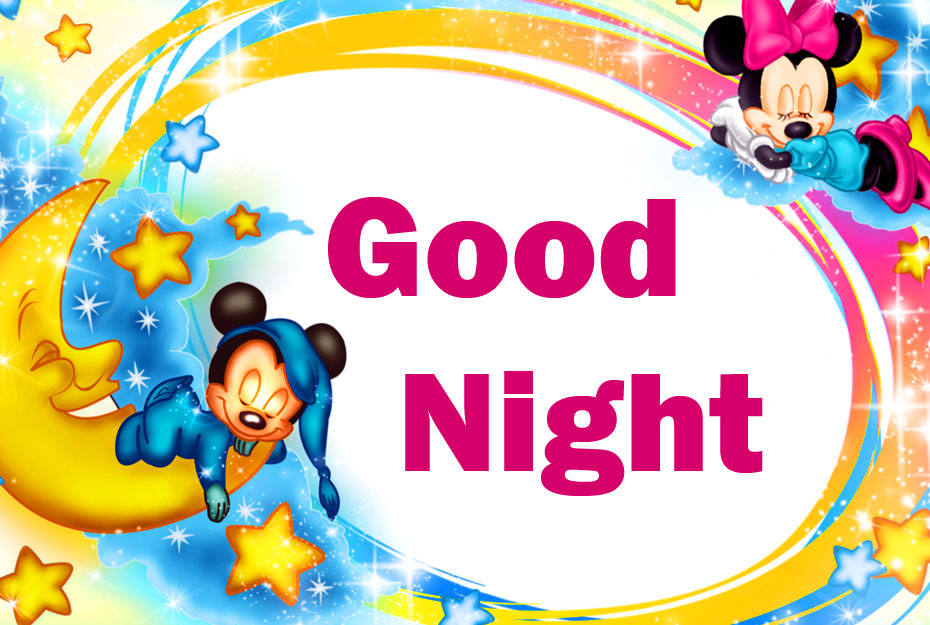 Good Night Lovely Mickey and Minnie Mouse Wallpaper