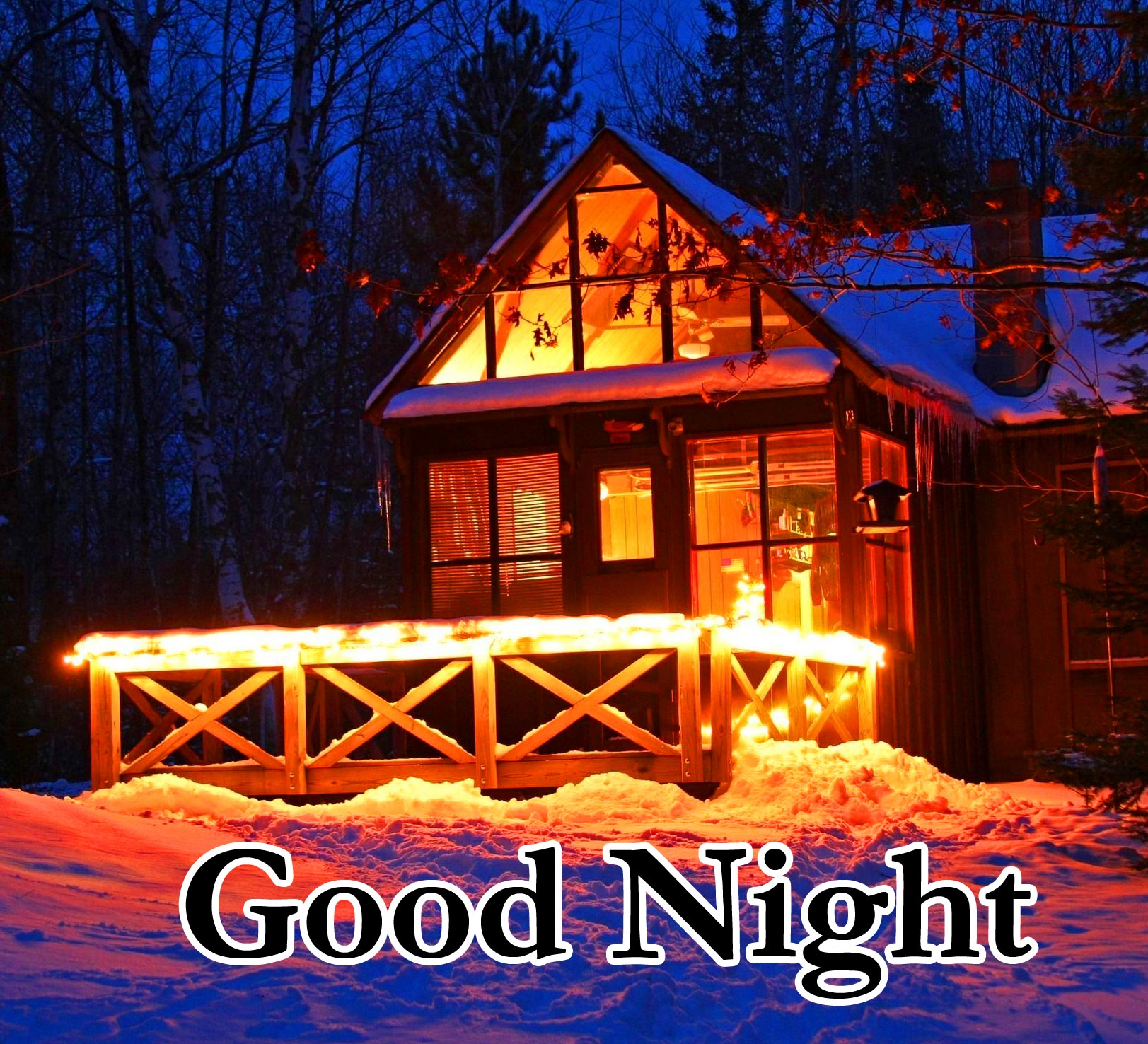 Good Night Message with Winter House Pic