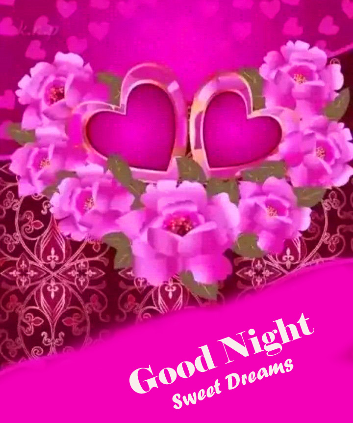Good Night Sweet Dreams with Hearts and Flowers