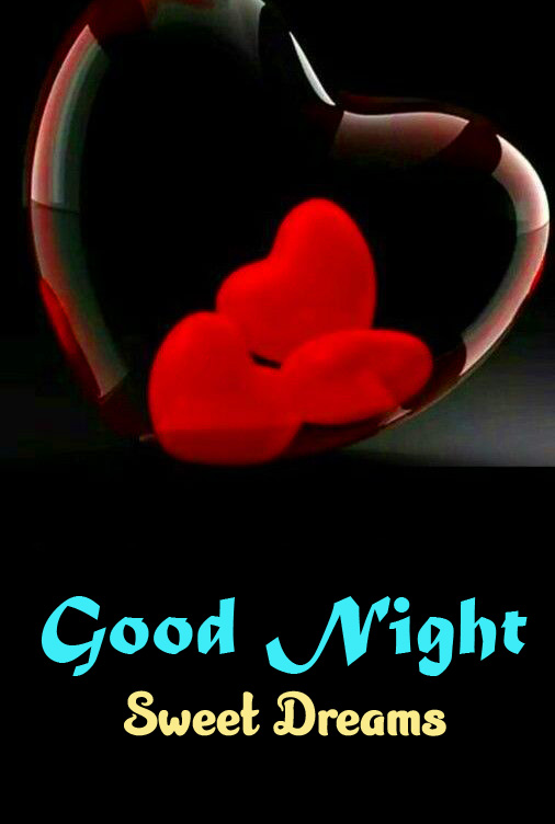 Good Night Sweet Dreams with Red Hearts Pic