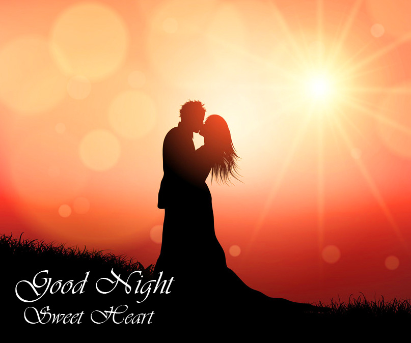 Good Night Sweet Heart with Kissing Romantic Couple