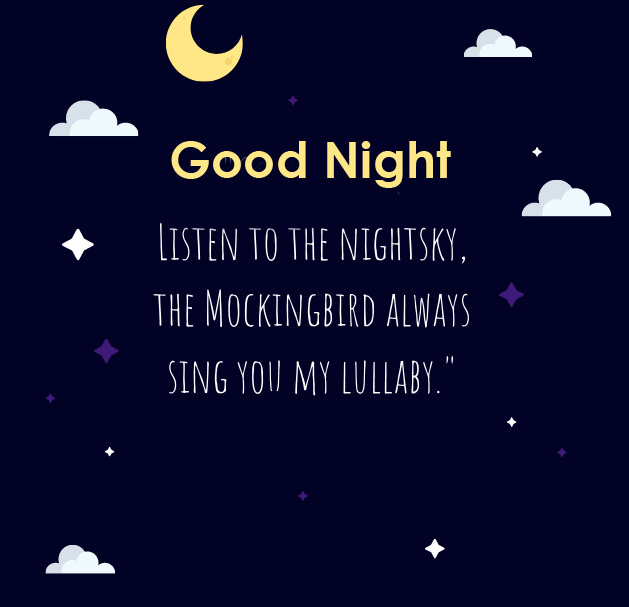 Good Night with English Quotes Picture