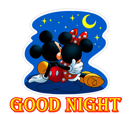 Good Night with Romantic Mickey and Minnie Mouse in Night