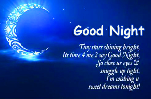 Good Night with Shining Moon and Message