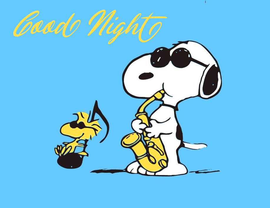 Good Night with Snoopy Playing Music