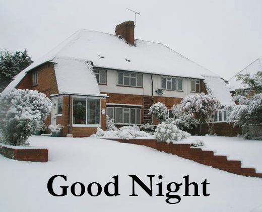 Good Night with Snow Covered House