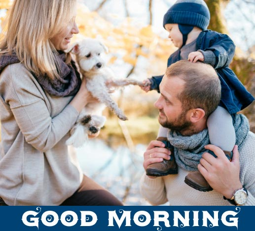 Happy Family with Dog and Good Morning Wish