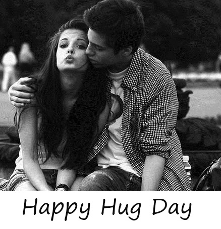 Happy Hug Day Message with Couple Pic