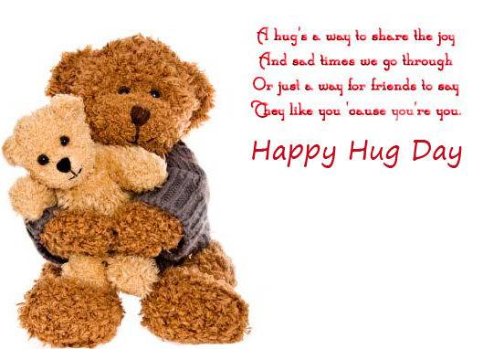 Happy Hug Day with Cute Teddies and Message