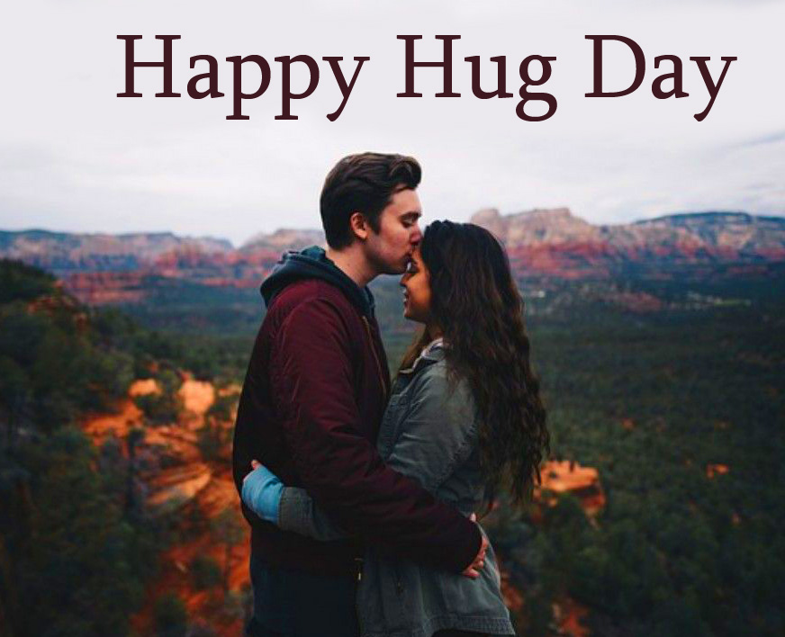 Happy Hug Day with Hugging Couple Pic