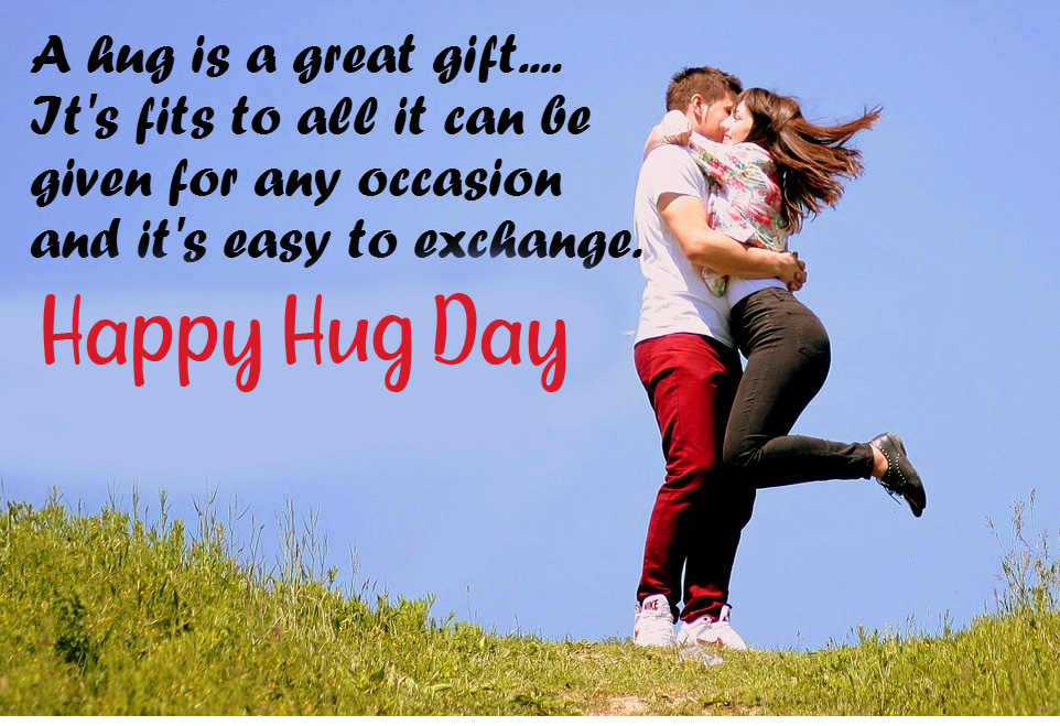 Happy Hug Day with Sweet Couple and Love Message