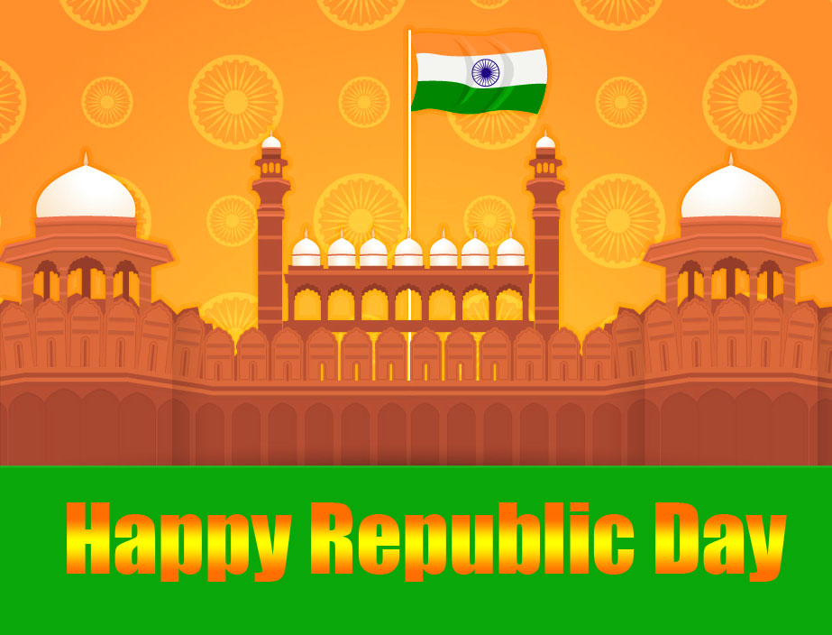 Happy Republic Day Greeting Red Fort Wallpaper