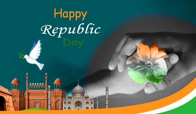 Happy Republic Day with Tri Color Flower Pic
