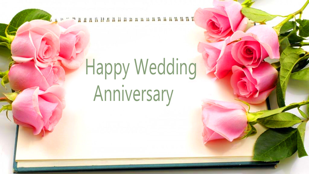 Happy Wedding Anniversary Card with Roses
