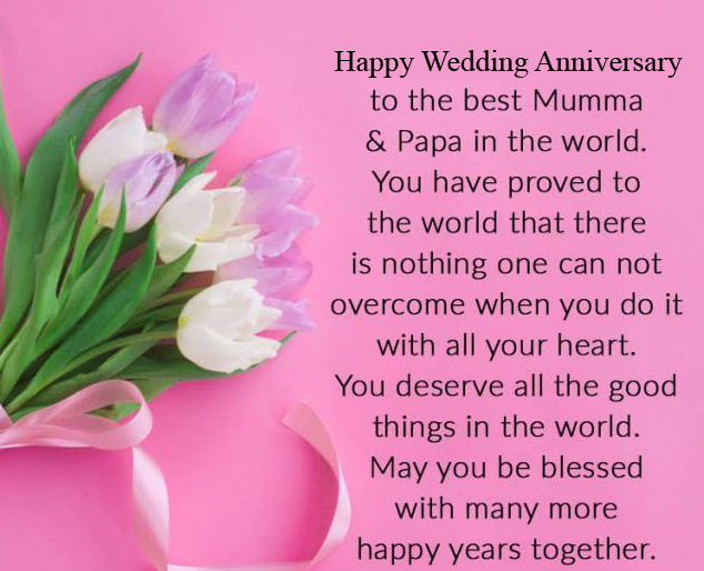Happy Wedding Anniversary Flower with Quotes